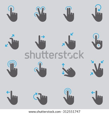 Touch screen hand gesture icon set - stock vector