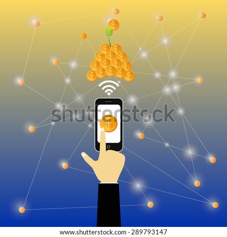 Touch screen mobile phone. Business growing money concept. The pile of money. Vector illustration - stock vector