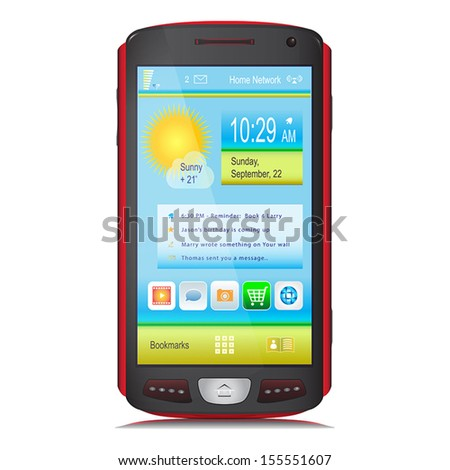 Touch Screen Mobile Phone isolated on white background. Black and red body colors. Content on display. Vector illustration. - stock vector