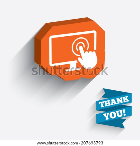 Touch screen monitor sign icon. Hand pointer symbol. White icon on orange 3D piece of wall. Carved in stone with long flat shadow. Vector - stock vector