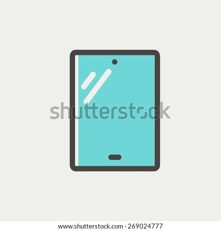 Touch screen tablet icon thin line for web and mobile, modern minimalistic flat design. Vector icon with dark grey outline and offset colour on light grey background. - stock vector