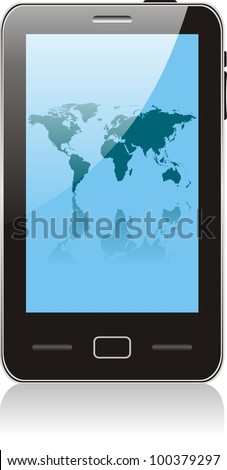 touch smartphone  with world map wallpaper. No transparency effects. EPS8 Only - stock vector