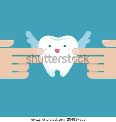 Touching the tooth angle - stock vector