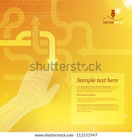 Touchscreen. Business strategy - stock vector