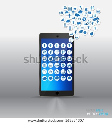 Touchscreen device with cloud of application. Vector illustration. - stock vector