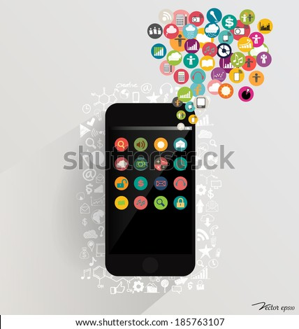 Touchscreen device with cloud of colorful application. Vector illustration. - stock vector