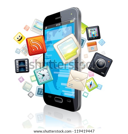 Touchscreen Smart Phone with Cloud of Media Application Icons. Vector Image - stock vector