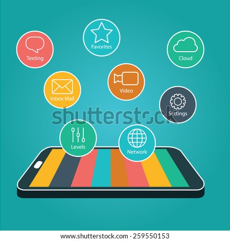 Touchscreen Smartphone with Application Icons., Smart Phone with Apps. - stock vector