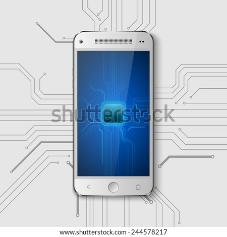Touchscreen Smartphone with circuit background.vector - stock vector