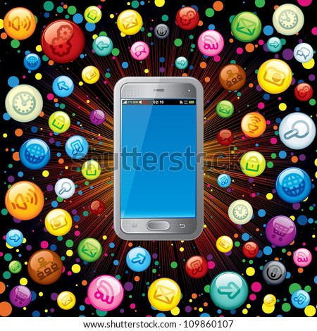 Touchscreen Smartphone with Cloud of Application Icons. Vector Concept - stock vector