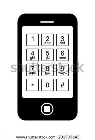 Touchscreen symbol. Black touch screen mobile smart phone that the display has an old keyboard with letters and all number, vector art image illustration, isolated on white background - stock vector