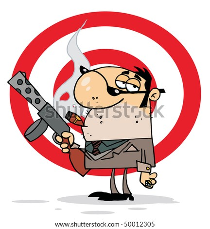 Tough Cigar Smoking Mobster Holding A Submachine Gun In Front Of A Target - stock vector