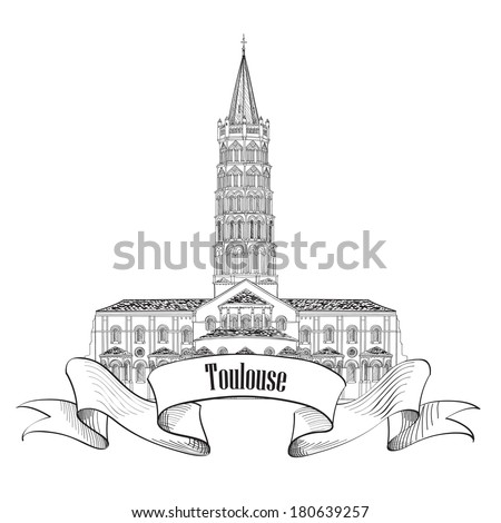 Toulouse landmark basilica of Saint Sernin, south France. Roman architectural style church. Travel France symbol. - stock vector