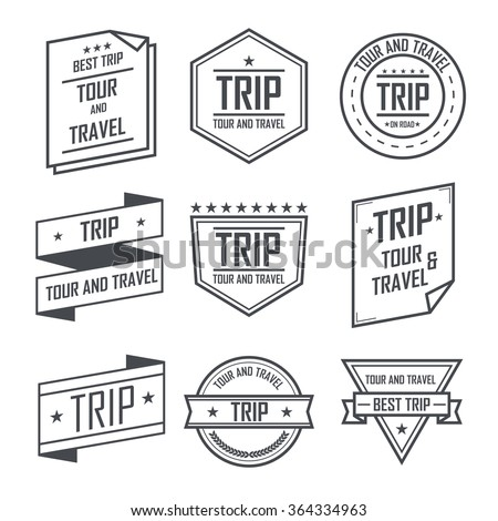Tour and travel trip labels and stickers vintage emblem design. - stock vector