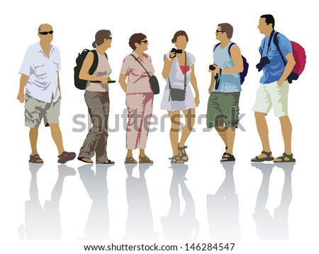 Tour group, tourists on a trip. Set of people silhouettes. - stock vector