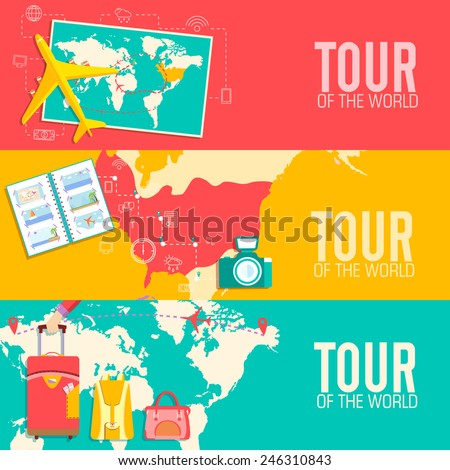 tour of the world concept. Tourism with fast travel on a flat design style. Vector illustration - stock vector