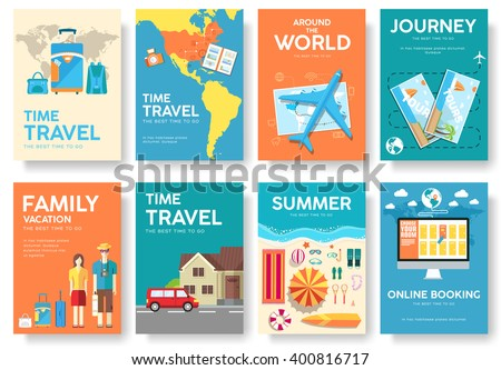 Tour of the world vector brochure set. Travel  icons. Travel posters. Travel booklet. Travel flyer. Flat Travel banners with typography. Travel invitation. Travel cards. Travel mock up. Travel guide - stock vector