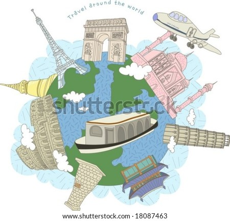 Tour to Worldwide - travel to France, Italy, Russia, Korea, Japan and India with traditional famous architectures of world on a background of beautiful sky and cloud patterns : vector illustration - stock vector