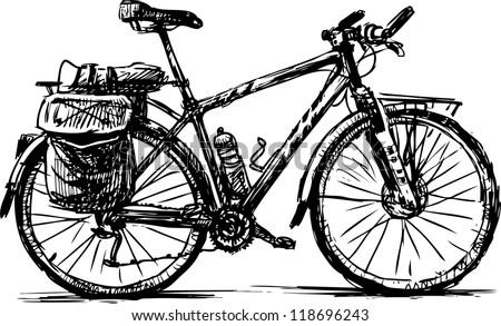 touring bike - stock vector