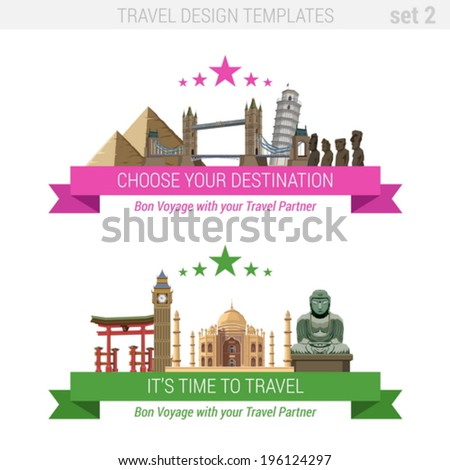 Tourism adventure vacation vector set. Travel design templates collection.  Taj Mahal, Buddha, Big Ben, Tower, Pyramids, Itsukushima Shrine torii, Easter Island Statues, Tower of Pisa. - stock vector