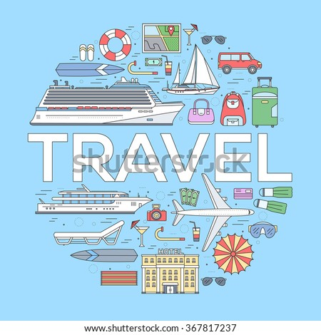 Tourism circle concept design. Holiday vacation vector elements. Flat trip thin lines style icons illustration.Transport and different equipment for travel background - stock vector
