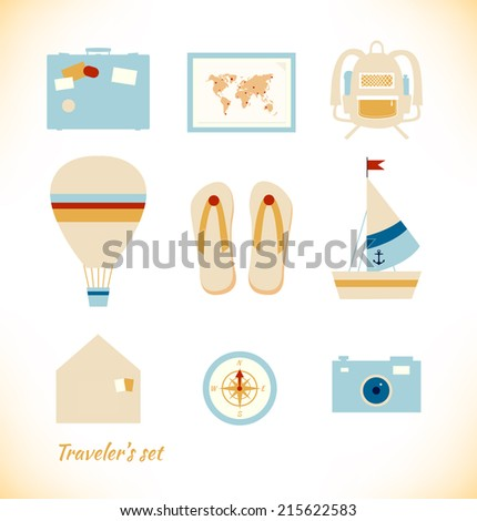 Tourism collection. Adventure vector set - stock vector