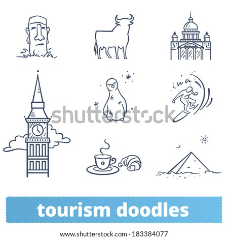 Tourism doodles: hand drawn icons of landmarks and travel signs. England, Italy, Spain, Antarctica, Pacific Ocean Coast, France, Egypt, Chile. - stock vector