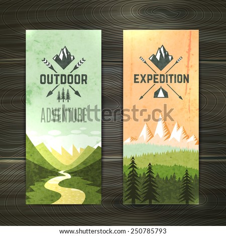 Tourism hiking holidays forest landscape with mountain peaks and two vertical banners set abstract isolated vector illustration - stock vector