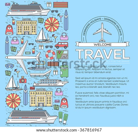 Tourism infographic concept design. Holiday vacation vector elements. Flat trip thin lines style icons illustration.Transport and different equipment for travel background - stock vector