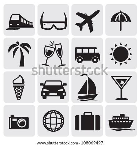 Tourism set icons - stock vector
