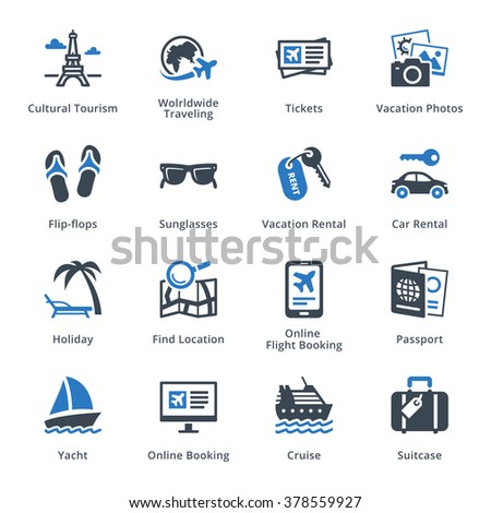 Tourism & Travel Icons Set 5 - Blue Series  - stock vector
