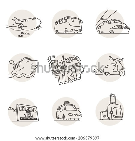 Tourism, Vehicle and transportation hand-drawn doodle icons. Line art vector icon set. Logo templates. - stock vector