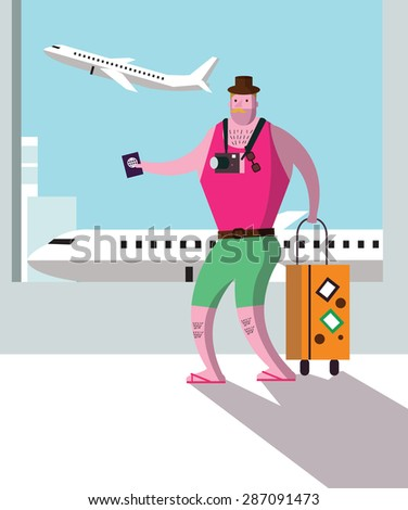 Tourist at airport terminal, travel and vacation concept. flat character design. vector illustration - stock vector