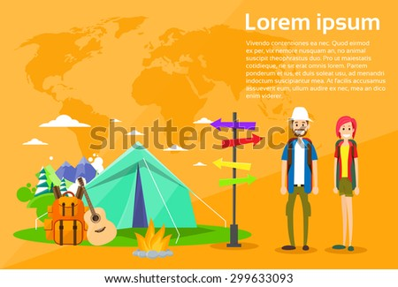 Tourist Backpacker Couple Tent Camping Forest Mountain Expedition Flat Vector Illustration - stock vector