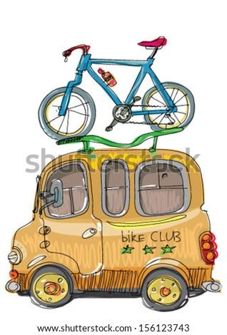 tourist bus - cartoon - stock vector
