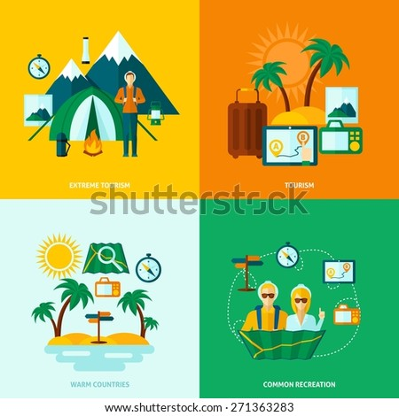 Tourist  design concept set with extreme common warm countries recreation flat icons isolated vector illustration - stock vector