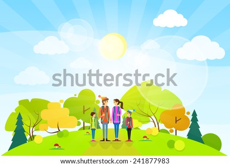 tourist family with backpack over summer landscape mountain forest road flat design vector illustration - stock vector