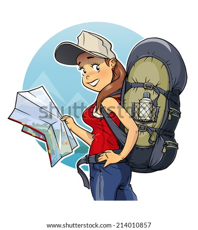 Tourist girl with rucksack and map. Eps10 vector illustration. Isolated on white background - stock vector