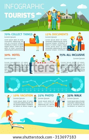 Tourist infographics set with people on vacation figures and charts vector illustration - stock vector