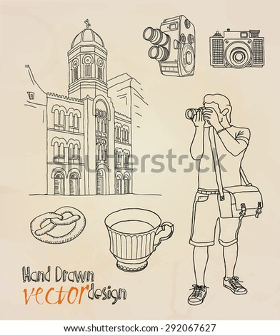 tourist, photographer.  - stock vector