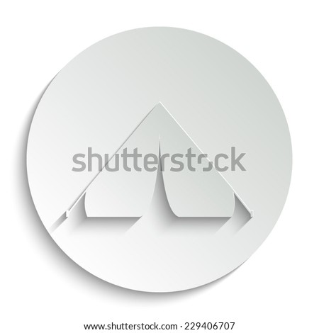Tourist tent  - vector icon with shadow on a round button - stock vector