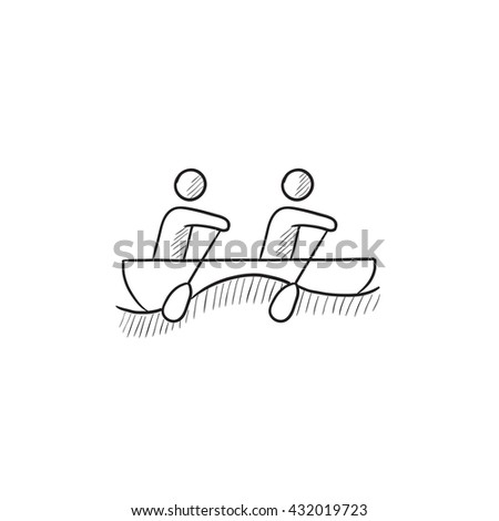 Tourists sitting in boat vector sketch icon isolated on background. Hand drawn Tourists sitting in boat icon. Tourists sitting in boat sketch icon for infographic, website or app. - stock vector