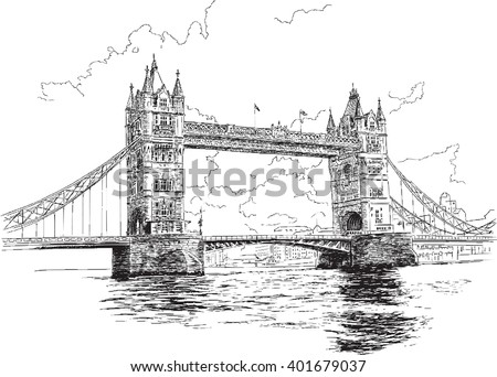Tower Bridge in London, hand-drawing, vector illustration. - stock vector