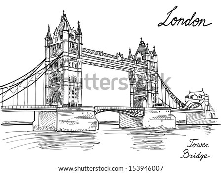 Tower Bridge, London, England, UK. Hand Drawn Illustration. Vector vintage background.  - stock vector