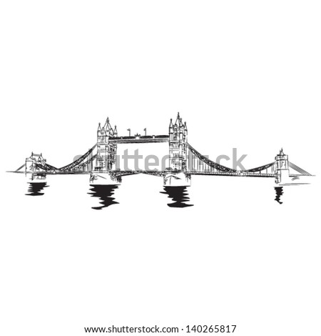 Tower Bridge of London - vector lineart illustration - stock vector