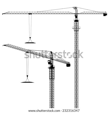 Tower Cranes in Silhouette - Vector EPS 8 - stock vector