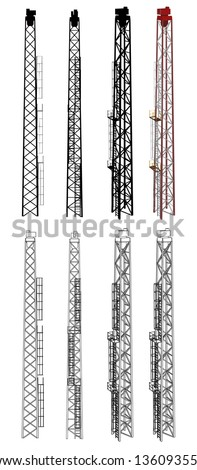Tower Front/Side/Perspective/Wireframe view | EPS10 Vector - stock vector