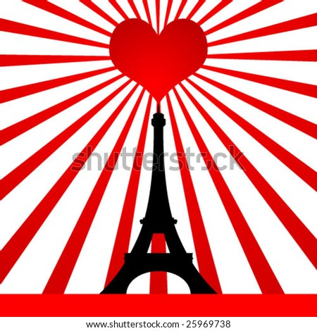 tower with love symbol - stock vector