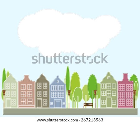 Town houses- Illustration - stock vector