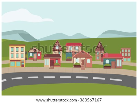town houses in street - stock vector